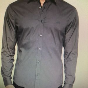 NWT Burberry Brit Men S. Gray Cotton Casual Shirt